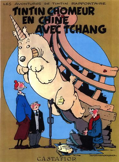 Tintin book covers pastiche parody imitation farce for Farcical parody
