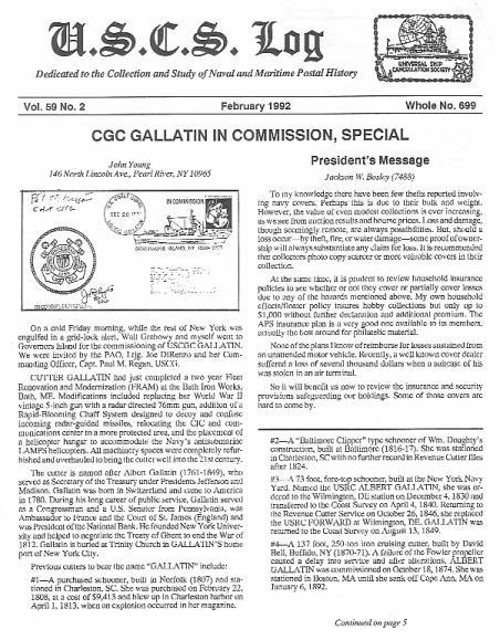 USCS Log, Feb 1992