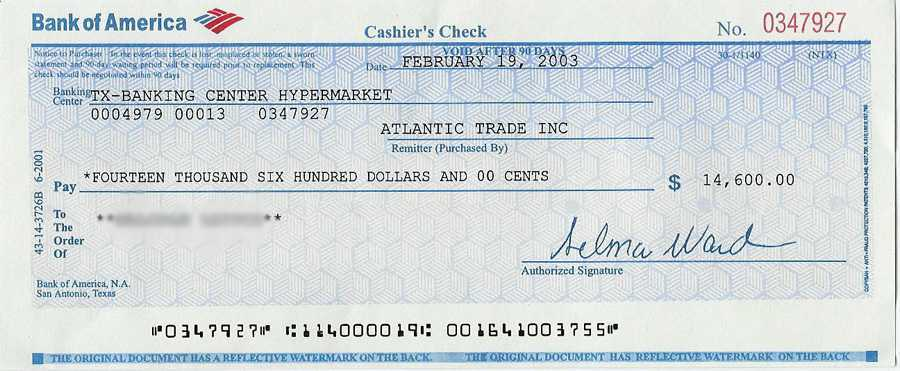 bank of america fee for certified check